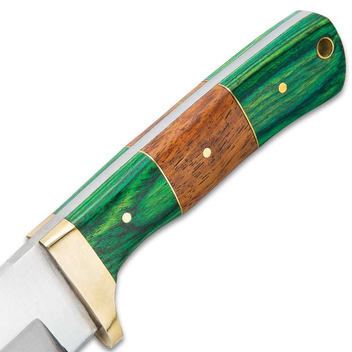 Timber Wolf Forester Knife With Sheath - Stainless Steel Blade, Wooden Handle Scales, Brass Handguard - Length 9""