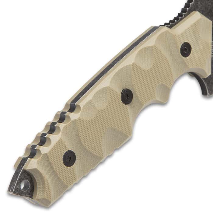 USMC Scorching Sands Stonewashed Recurved G10 Fixed Blade Knife with Nylon Sheath