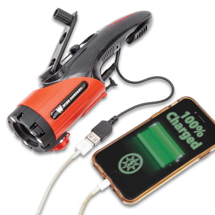 Wise Multi-Function Survival Flashlight - Mobile Phone Charger, LED Light, Red Alert Lights, Seatbelt Cutter, Hammer