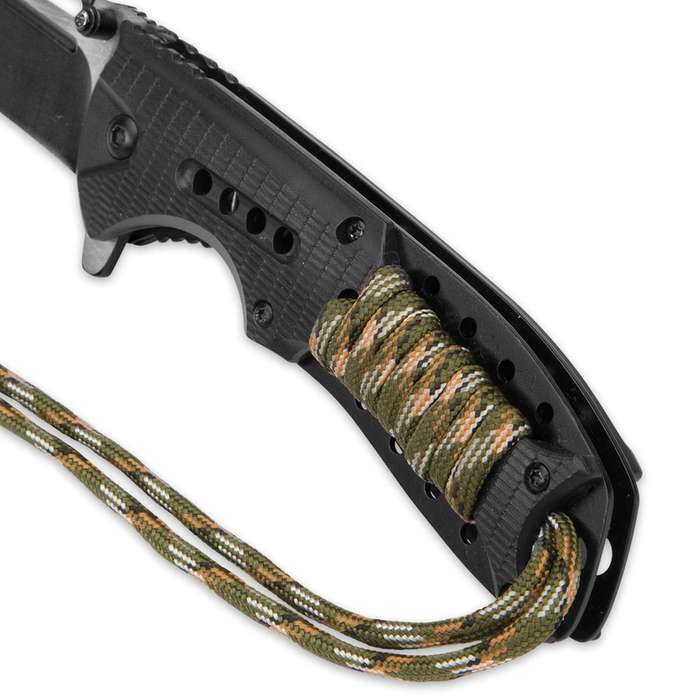 SOA Scout Assisted Opening Pocket Knife - Black with Camo Paracord Wrapping