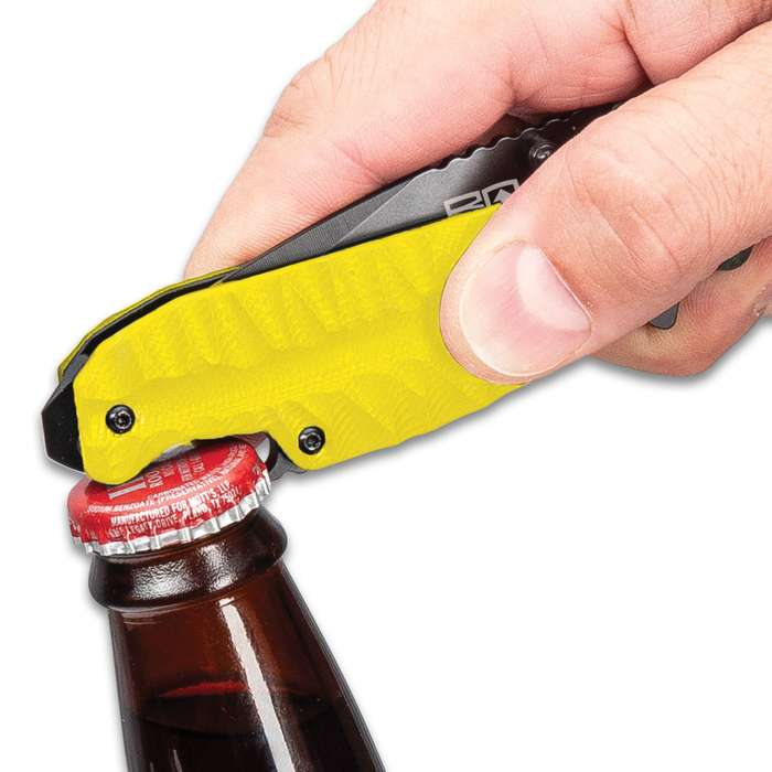 BugOut Rescue Yellow Assisted Opening Pocket Knife - Bottle Opener, Screwdriver, Stainless Steel Blade, TPU Handle, Pocket Clip