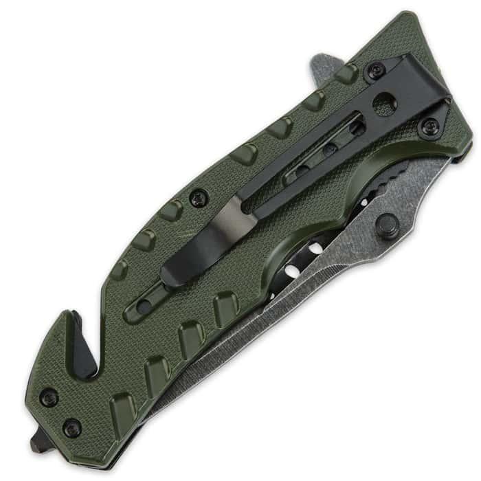 Black Legion Skull Rescue Folding Pocket Knife Green