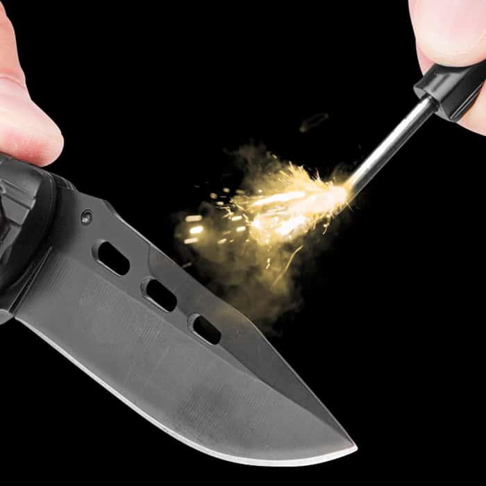 Black Legion Black Pocket Knife With Fire Starter