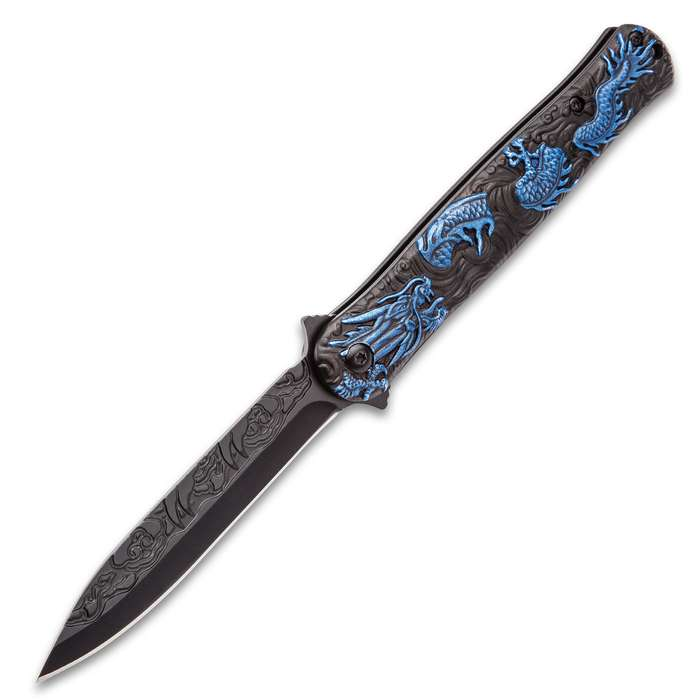 Black Legion Blue Chinese Dragon Deity Stiletto Knife - Stainless Steel Blade, Assisted Opening, Anodized Aluminum Handle, Pocket Clip