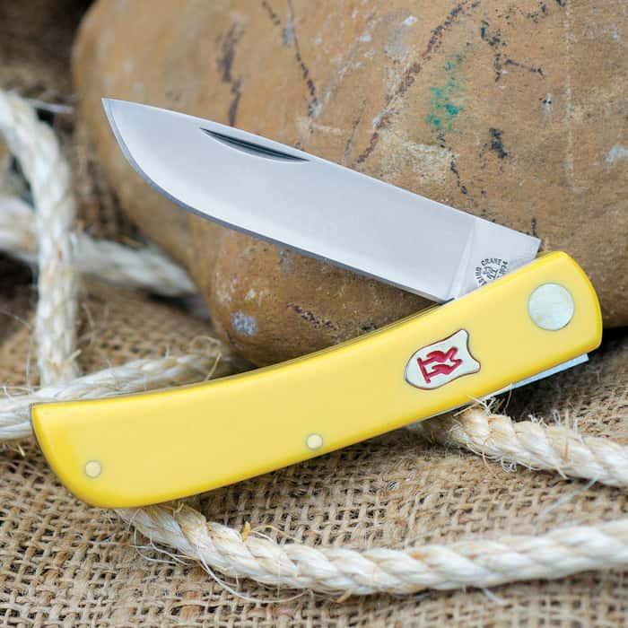 Kissing Crane Pocket Farmer Yellow Composite Pocket Knife