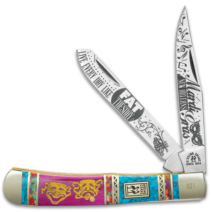 Kissing Crane Mardi Gras Trapper Pocket Knife - Stainless Steel Blades, Bone And Ceramic Handle Scales, Nickel Silver Bolsters