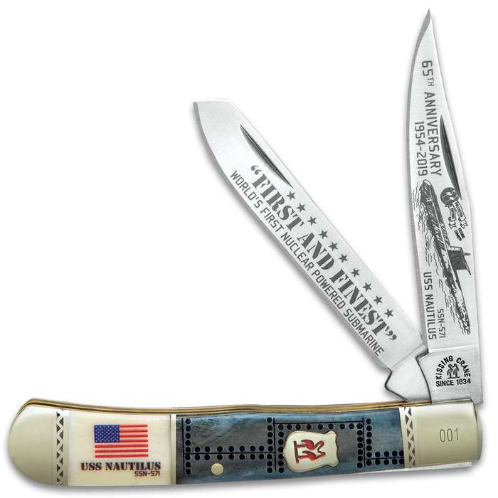 Kissing Crane USS Nautilus Trapper Pocket Knife - Stainless Steel Blades, Bone Handle Scales, Nickel Silver Bolsters, Brass Liners