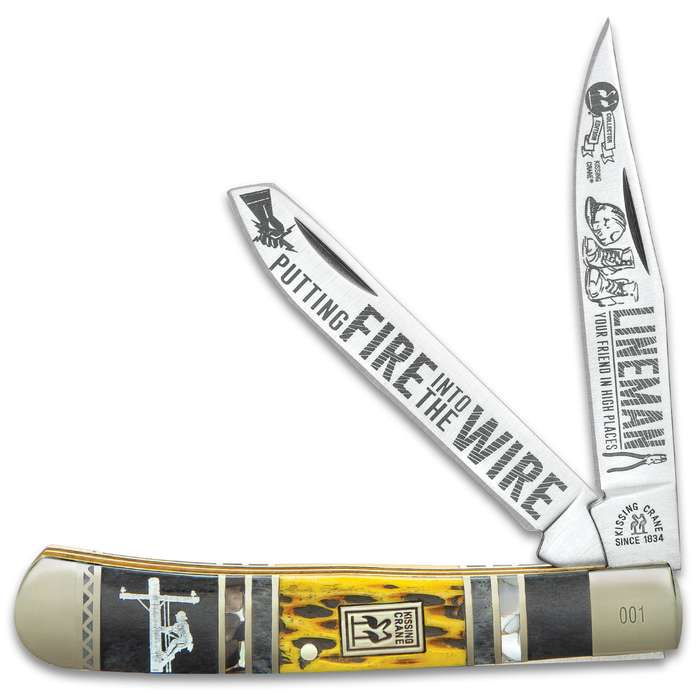 Kissing Crane Lineman Trapper Pocket Knife - Stainless Steel Blades, Bone And Pearl Handle Scales, Nickel Silver Bolsters, Brass Liner