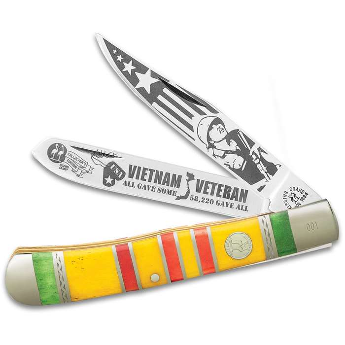 Kissing Crane 2020 Vietnam Veteran Trapper Pocket Knife - Stainless Steel Blades, Bone Handle Scales, Nickel Silver Bolsters, Brass Liners
