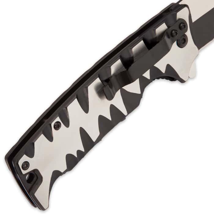 Kriegar Karnivore Assisted Opening Pocket Knife / Folder - Teeth Marks Edge Handle - 2-Tone Finish Black Titanium / Satin Stainless Steel - Blade Spur / Flipper, Liner Lock, Pocket Clip, Lanyard Hole