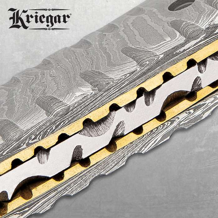Kriegar Damascus Pocket Knife With Pouch - Damascus Steel Blade, Damascus Steel Handle, Brass Thumbstud - Closed 4 1/2""