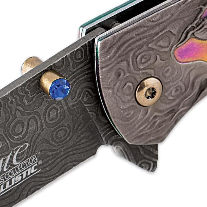 Damascus Deer Folding Pocket Knife With Rainbow Insert