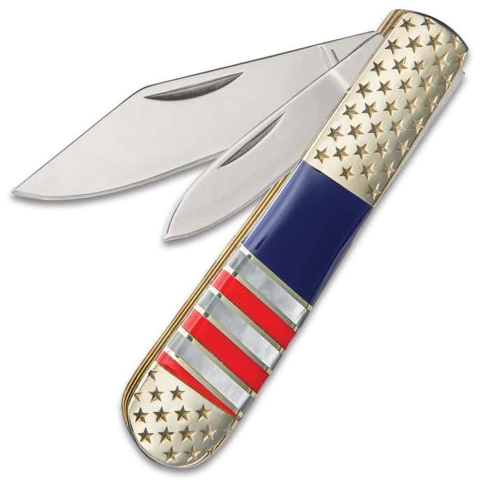 Ridge Runner American Flag Barlow Pocket Knife - 3Cr13 Stainless Steel Blade, Genuine Mother Of Pearl Handle, Nickel Silver Bolsters