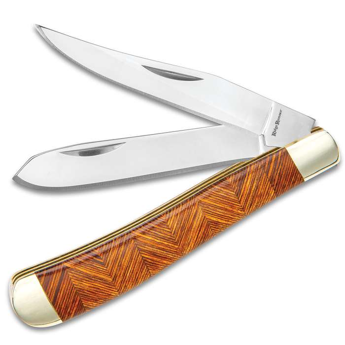 Ridge Runner Brown Parquet Trapper Pocket Knife - 3Cr13 Stainless Steel Blade, Pakkawood Handle Scales, Nickel Silver Bolsters