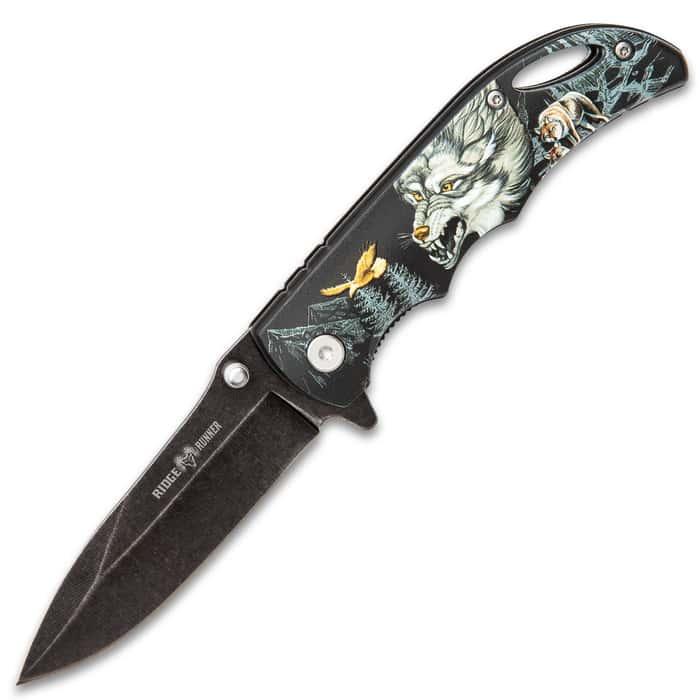 Ridge Runner Wolf Mountain Pocket Knife - Stonewashed Stainless Steel Blade, TPU Handle, 3D Print Artwork, Pocket Clip