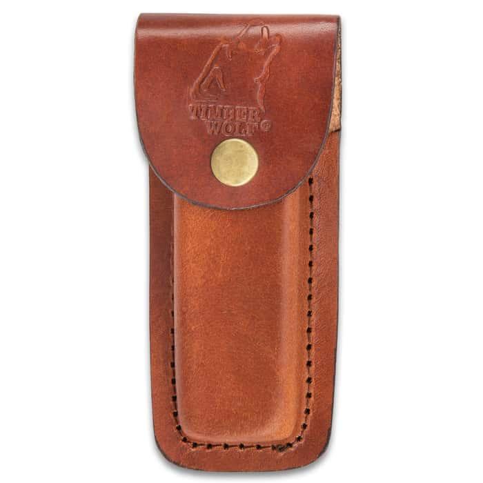 Timber Wolf Havasu Pocket Knife - Damascus Steel Blade, Genuine Buffalo Horn Handle Scales, Stainless Steel Bolster, Brass Pins