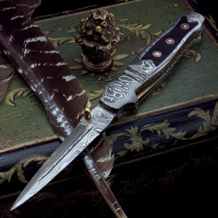 Timber Wolf Mosaic Damascus Stiletto Pocket Knife