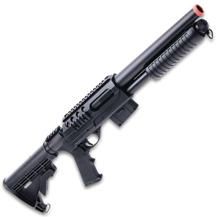 Crosman Game Face Triple Threat Air Soft Gun Kit - Includes Submachine Gun, Voodoo Shotgun, Recon Pistol - Metal Alloy And Synthetic, Spring and Battery Powered