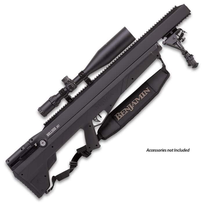 "Bulldog .357 PCP Multi-Shot Hunting Air Rifle - Rifled Steel Barrel, Fixed Bull Synthetic Stock, Five-Shot Magazine, Picatinny Rail - Length 36"""