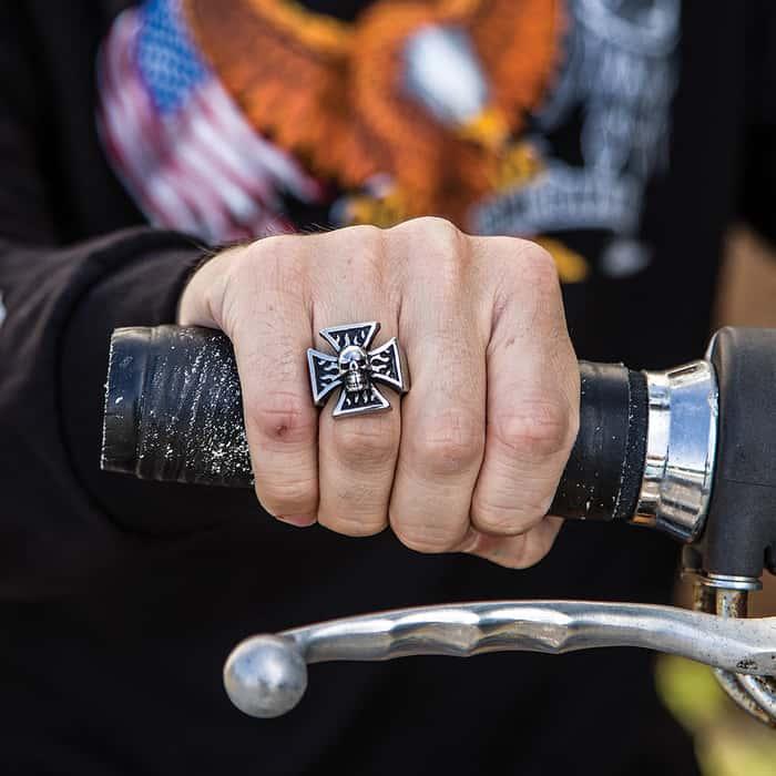 Chopper Skull Stainless Steel Men's Ring
