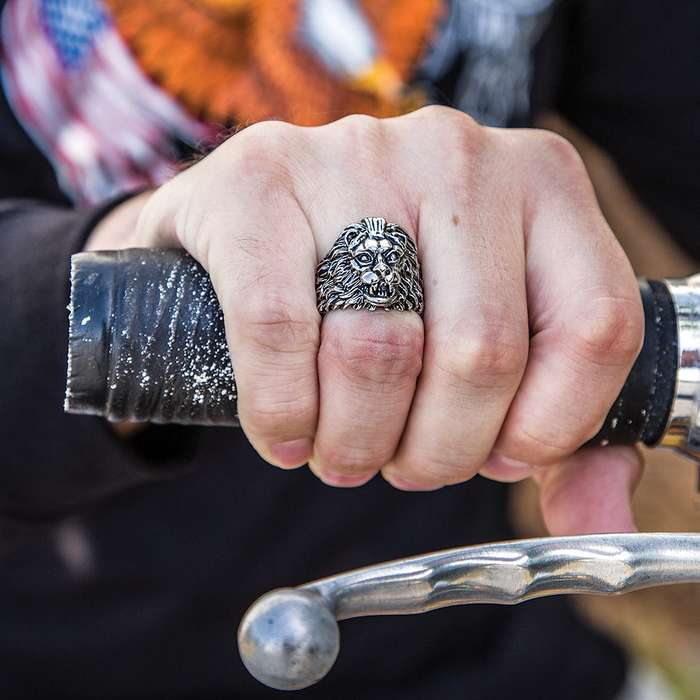 """""""The Shah"""" - Lion Head Men's Stainless Steel Ring - Sizes 9-12"""