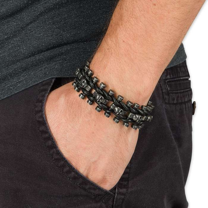The Girders of Hell - Stonewashed Steel Bars and Skulls / Leather Cord Bracelet