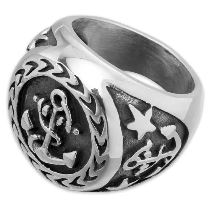 Anchor Shield Stainless Steel Men's Ring
