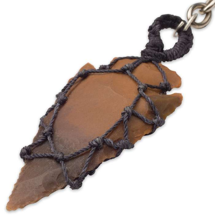 Wrap Cord Agate Arrowhead Necklace And Key Chain