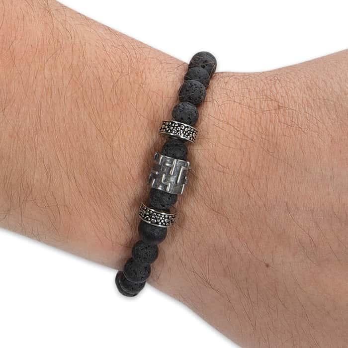 Lava Stone And Cross Bracelet