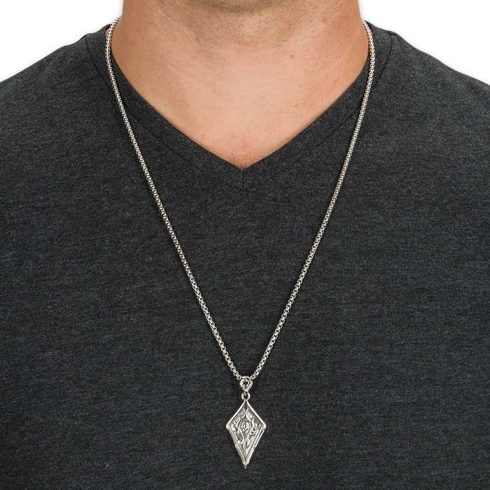 Diamond Shield with Celtic-Style Heraldic Flame Pendant on Classic Chain - Stainless Steel Necklace