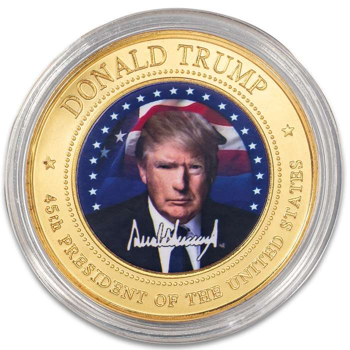 """Donald Trump Full-Color Presidential Coin - Crafted Of Metal-Alloy, Gold-Plated, Collector's Item, Intricate Colorful Detail, 40 mm - Dimensions 1 1/2"""""""