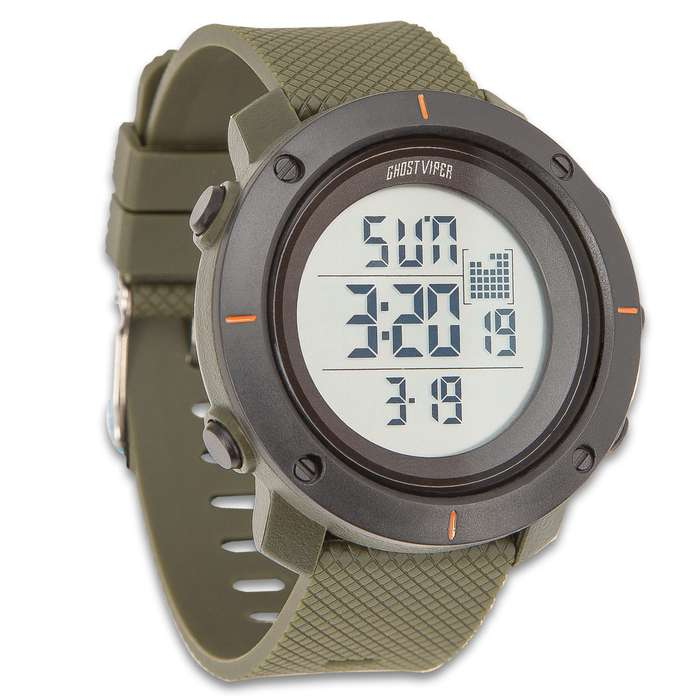 GVT Olive Drab Tactical Digital Watch - Water-Resistant Watch - Comfortable PU Resin Band, Hard PC And Stainless Steel Case, Clear Resin Glass