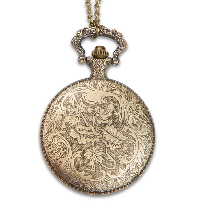 """Madison Bay Western-Style Pocket Watch Necklace - 2 1/2"""" Timepiece Pendant on 15 1/2"""" Chain - Antiqued Brass / Steel, Warm Patina, Hinged Glass Cover, Easy to Read Clock Numbers - Includes Battery"""