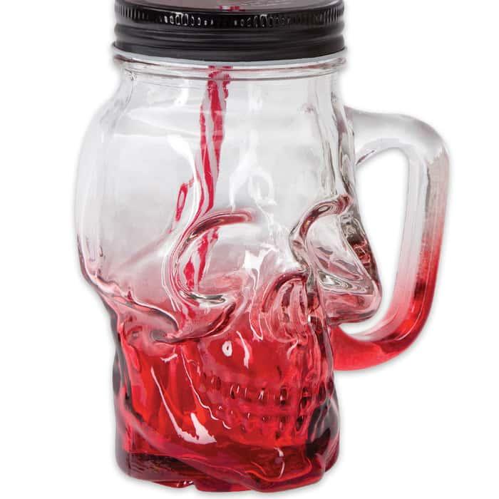 """The Crimson Cranium"" Skull Mason Jar Glass with Lid and Straw"