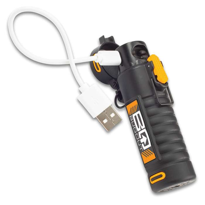 BugOut Survival Plasma Beam Lighter - Single Arc, Charges With USB Cord, Water-Resistant, Lanyard Cord