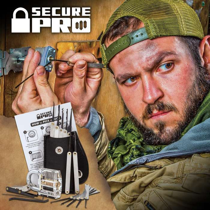 Secure Pro Practice Padlock and 15-Piece Lock Pick Set