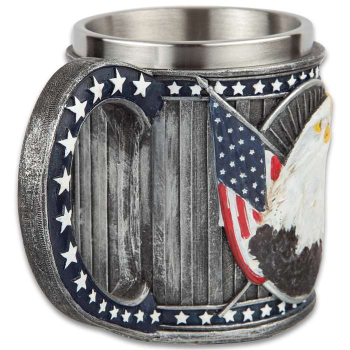 """American Eagle Coffee Mug And Tankard - 12-Ounce, Cold Cast Resin Construction, Stainless Steel Liner, Intricate Detail - Dimensions 4 1/4""""x 3"""""""