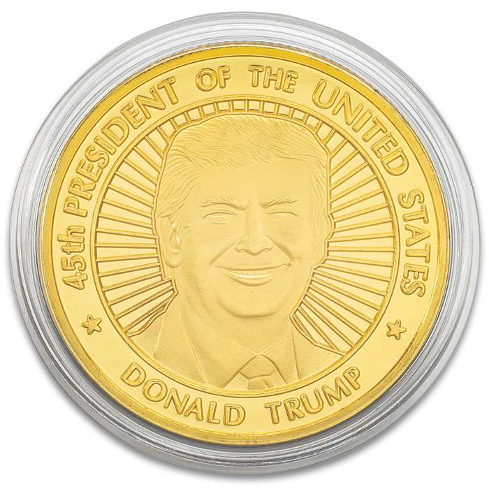 President Trump Gold Coin - Crafted Of Metal-Alloy, Gold-Plated, Collector's Item, Intricate Detail, 40 mm - Dimensions 1 1/2""