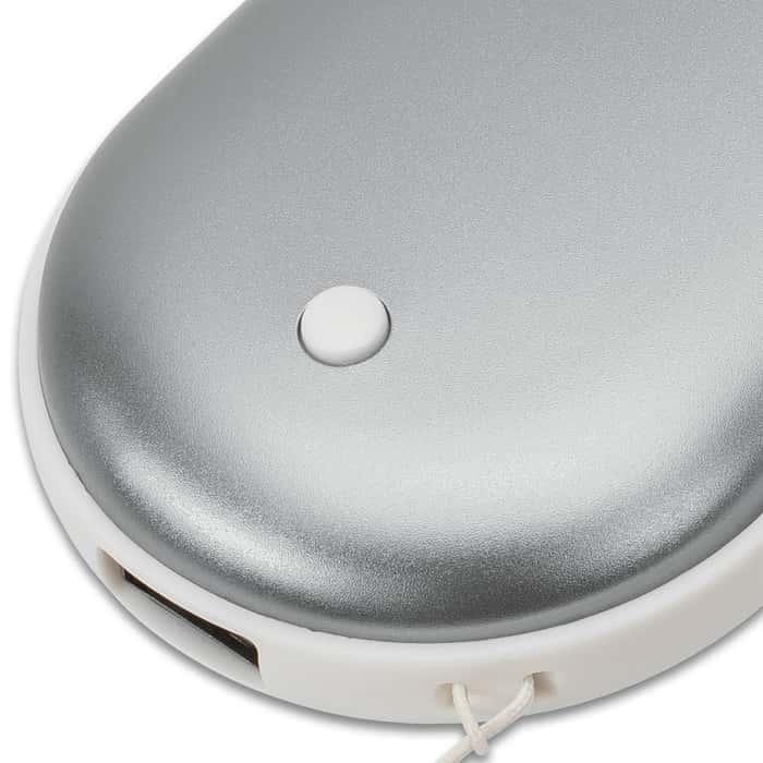 Hand Warmer And Power Bank - 5000 MAH, Aviation Aluminum Construction, Three Heat Modes, USB Cord