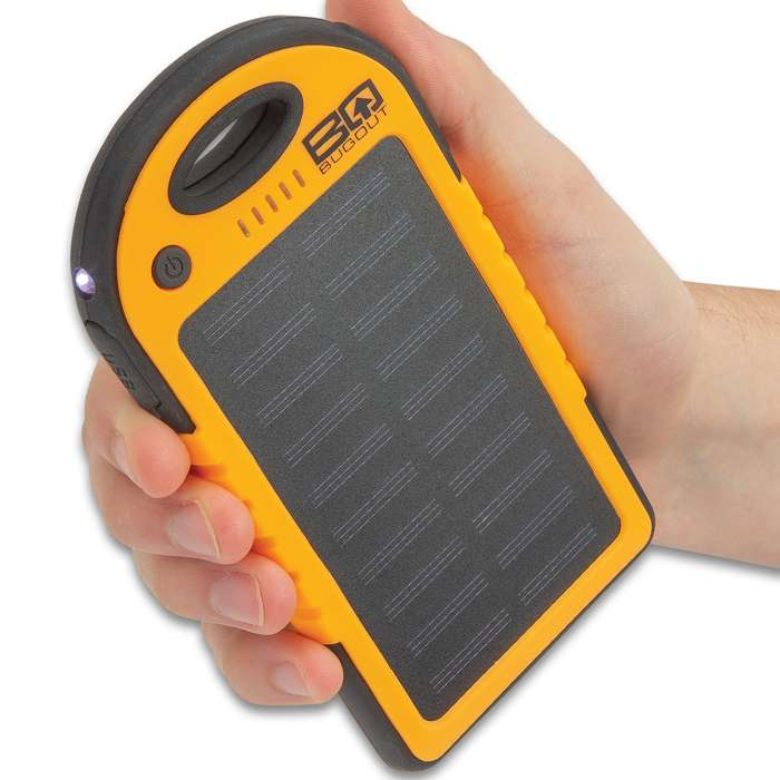 BugOut 8,000 MAH Orange Solar Charger And Power Bank - Monocrystalline Solar Panel, Li-Polymer Battery, Water-Resistant