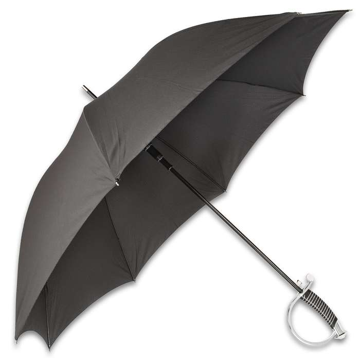 """Saber Sword Handle Umbrella With Sheath - Black Water-Resistant Polyester Canopy, Sculpted TPU Handle - Diameter 44 1/2"""", Length 34"""""""