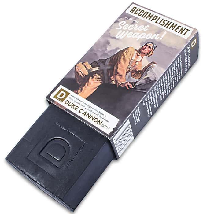 Duke Cannon Big Ass Brick Of Soap - Accomplishment Theme, 10 Oz Bar, Bergamot Scent, Rough Cut For Better Grip, Long Lasting
