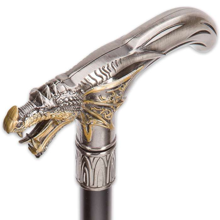 Roaring Silver and Gold Dragon Sword Cane