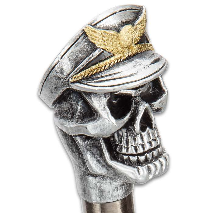 Flying Ace Skull Head Sword Cane - Stainless Steel Blade, Resin Handle, Aluminum Shaft, Rubber Toe - Length 36""