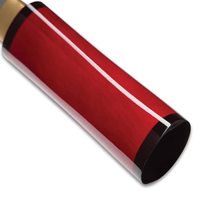 Shinwa Scarlet Komodo Handmade Tanto / Samurai Short Sword - Hand Forged 1045 Carbon Steel - Mother of Pearl Dragon Inlay; Red Hand Lacquered Hardwood; Shirasaya Mounting - Ninja Stealth - Full Tang