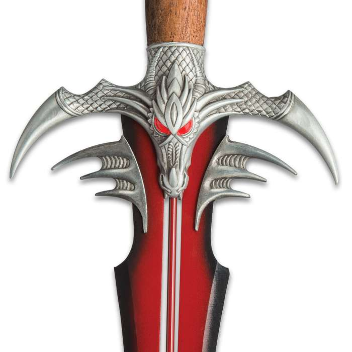 Fantasy Sword Red And Black With Display Plaque