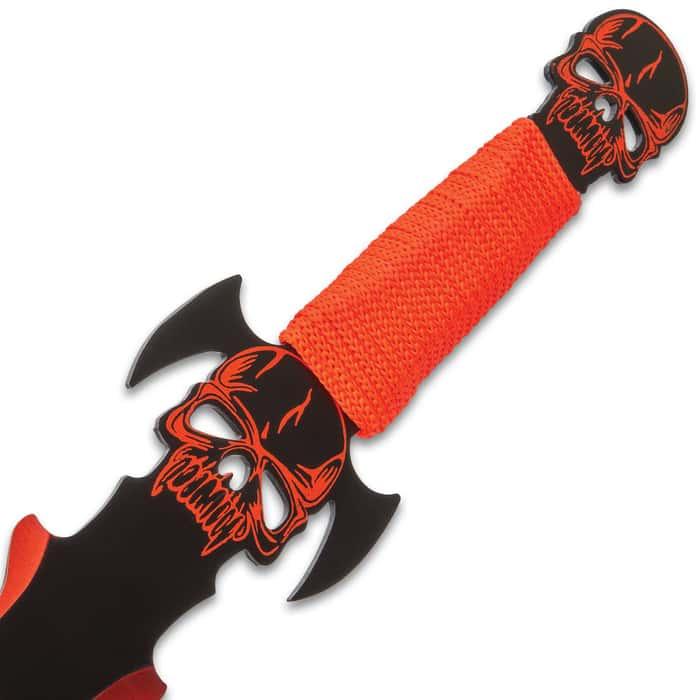 "Vampire Blood Oath Sword With Sheath - Stainless Steel Blade, Cord-Wrapped Handle, Vampire Skull Pommel - Length 27"""