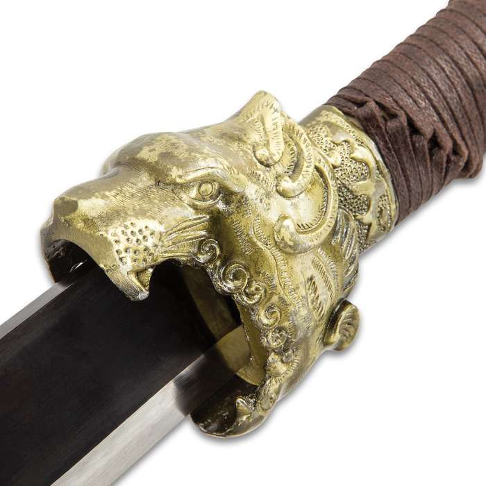 Sea Leopard Short Sword And Scabbard - Spring Steel Blade, Cast Metal Guard And Pommel, Cord-Wrapped Handle - Length 30 1/2""