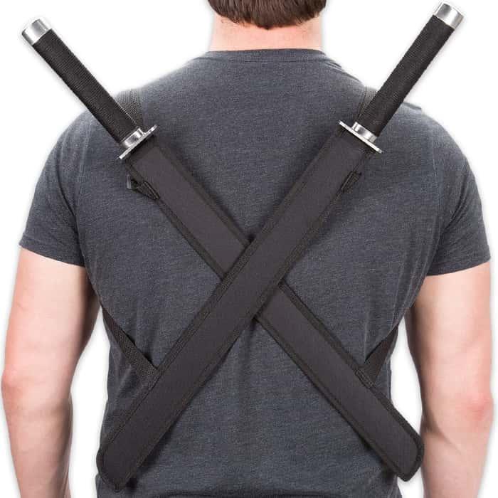 Double Strike Ninja Twin Sword Set With Shoulder Harness