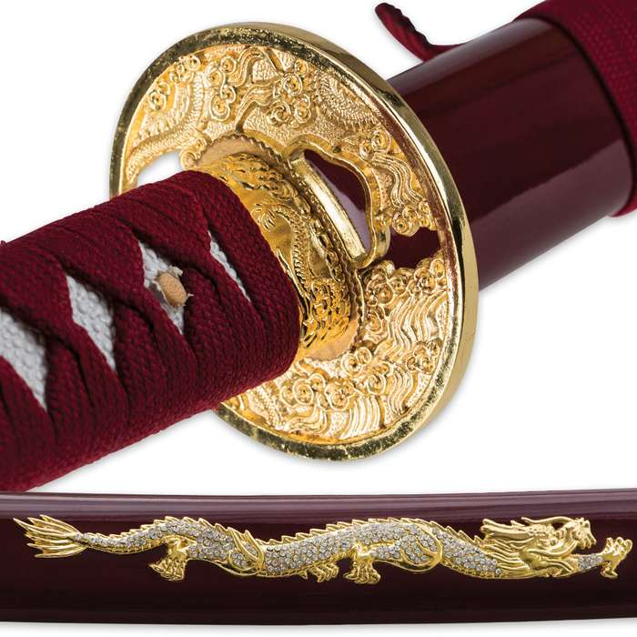 Samurai Warrior Carbon Steel Katana Sword - Maroon